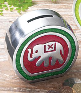Money Box~Ethnic Elephant Motif Aluminium Money Box~Fair Trade By Folio~AL224